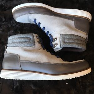 Cole Haan high top gray leather / suede sneakers